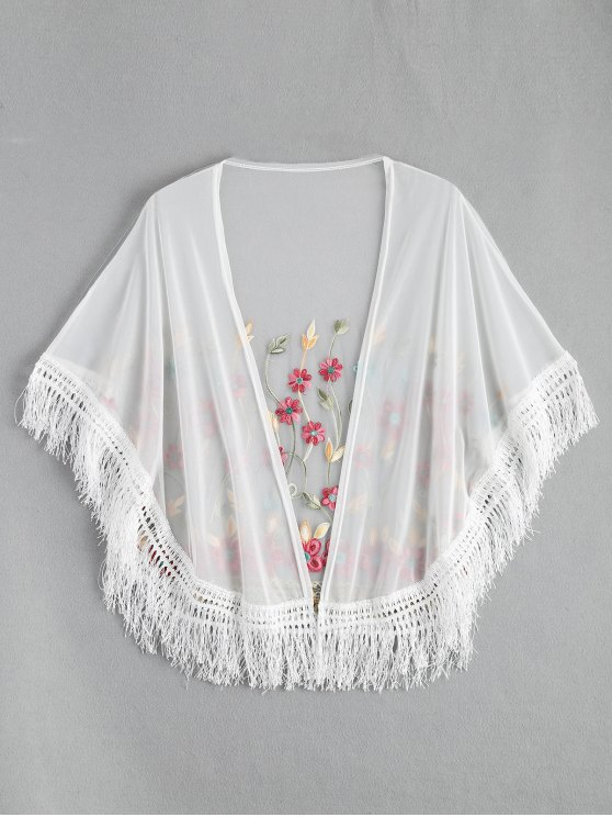 women Embroidered Mesh Tassel Kimono Cover Up - WHITE ONE SIZE