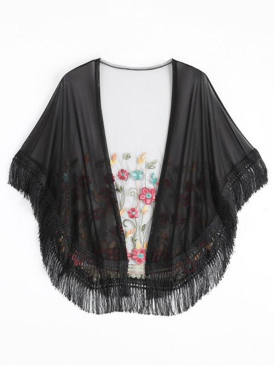 Embroidered mesh tassel kimono cover up black beach tops