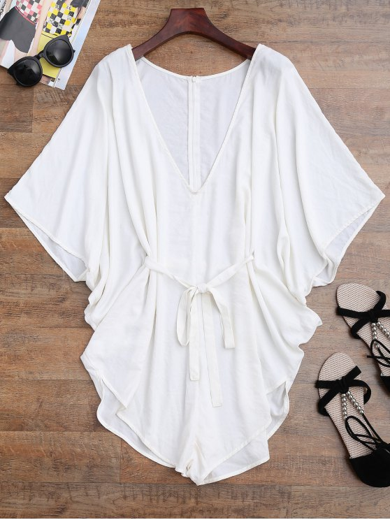 lady Drawstring Cover Up Batwing Romper - WHITE S