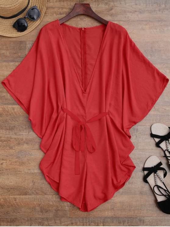 online Drawstring Cover Up Batwing Romper - RED S