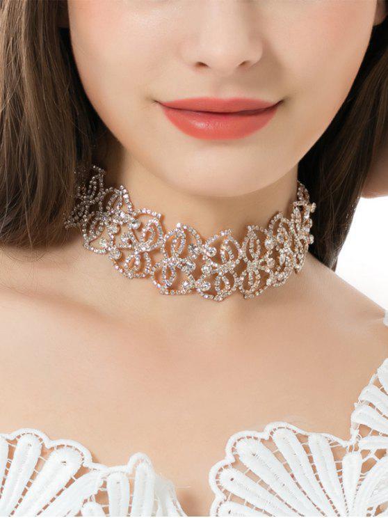 hot Sparkly Alloy Rhinestone Leaf Necklace - GOLDEN
