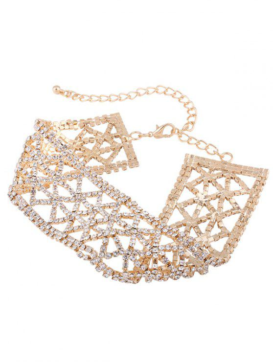 outfits Sparkly Alloy Rhinestone Geometric Necklace - GOLDEN