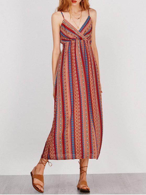 Robe de vacances rayée avec ceinture avant auto-attachée - Multicolore XL