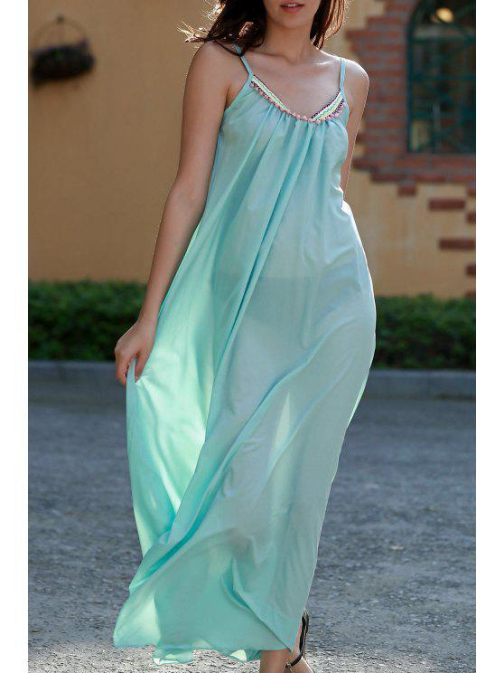 buy Carter Splice Cami Backless Maxi Dress - TURQUOISE L