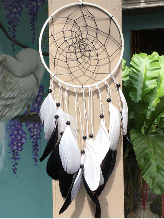 unique Dreamcatcher Circle Feather Beads Hang Home Decoration - MULTICOLOR