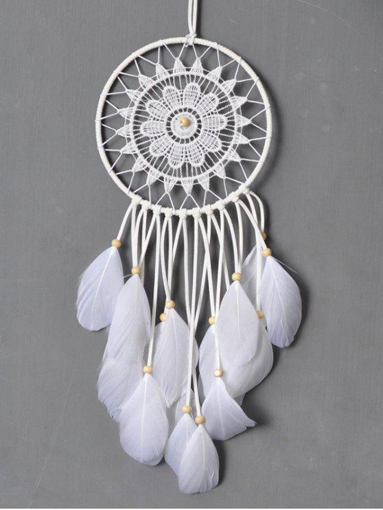الكروشيه الزهور زاك الريشة شنق تزيين المنزل - أبيض