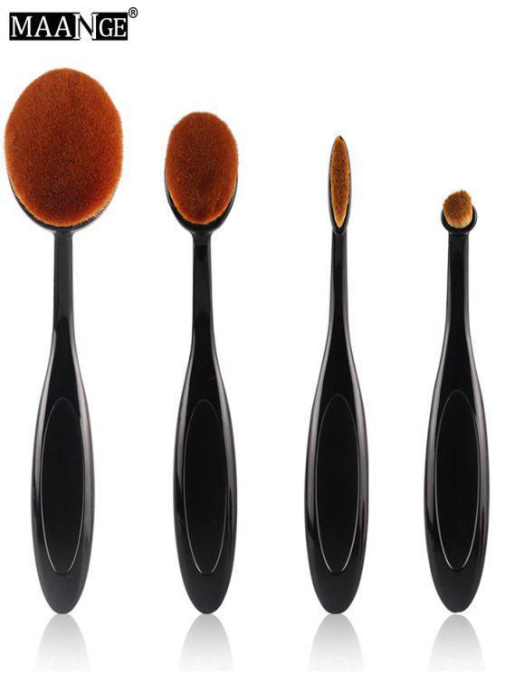 MAANGE Ovale Make-up Pinsel Set - Schwarz