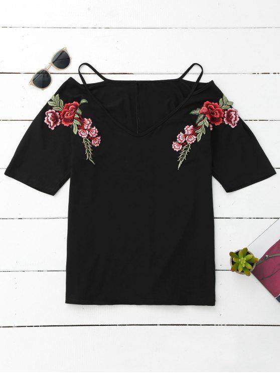 unique Cami Flower Applique V Neck T-Shirt - BLACK M