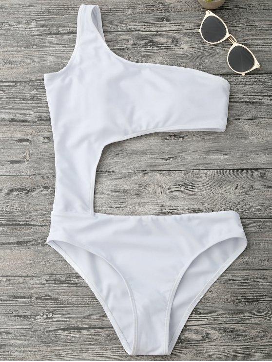 unique Asymmetric Cutout One Piece Monokini Swimsuit - WHITE M