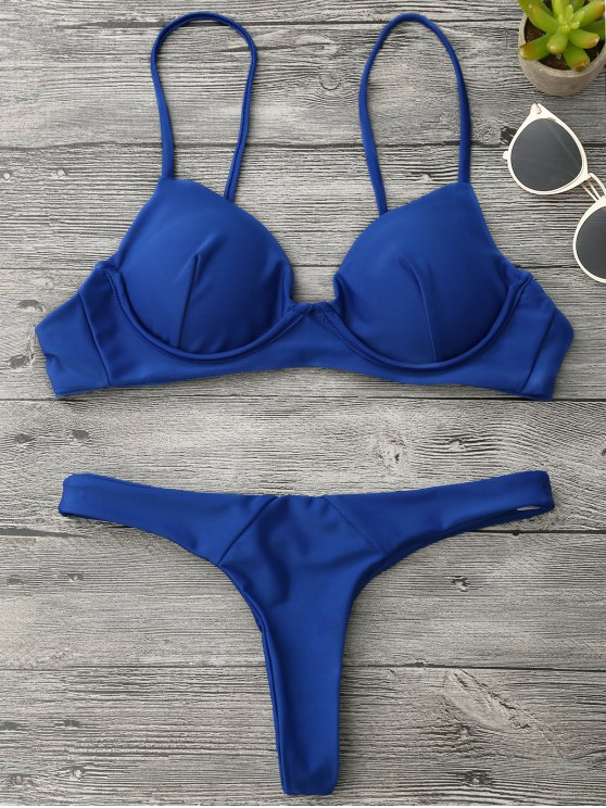 lady Underwire Push Up Thong Bikini Set - BLUE S