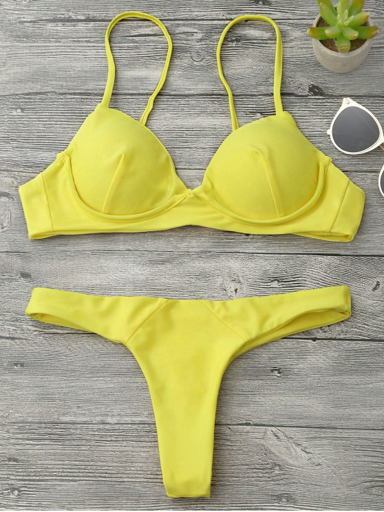 outfits Underwire Push Up Thong Bikini Set - YELLOW S