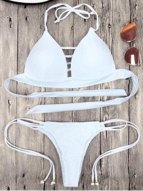 Ensemble Bikini Halter Tasse Moulé à Lacets - Blanc S
