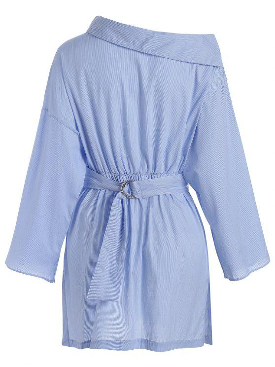 lady Side Button Belted Shirt Casual Dress - STRIPE S
