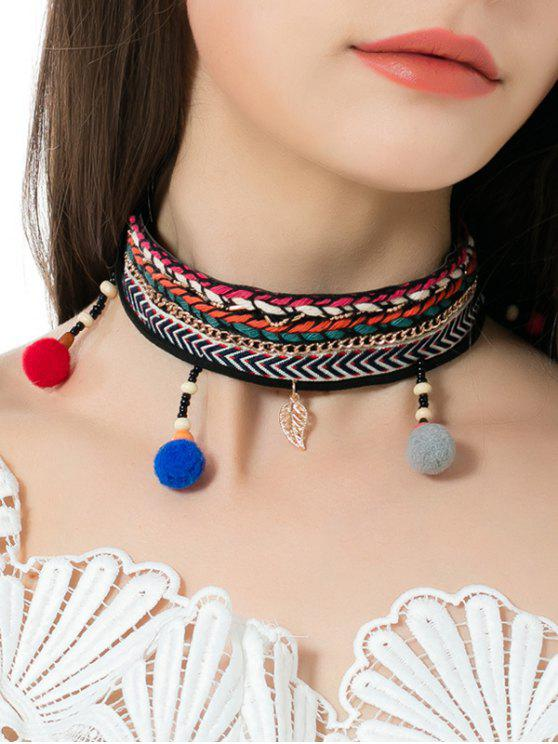 best Braid Embroidery Ball Leaf Ethnic Choker Necklace - MULTICOLOR