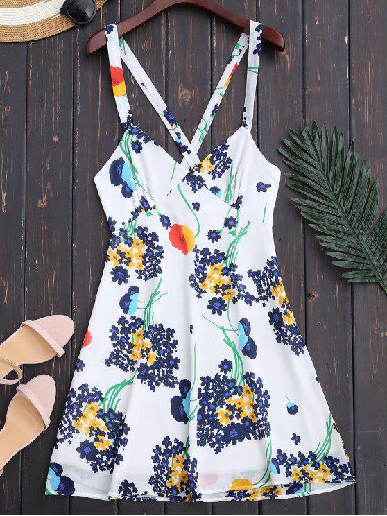 Robe d'été florale à dos nu à taille haute - Blanc S
