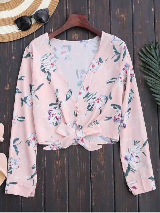 unique Plunge Floral Knot Hem Crop Top - LIGHT PINK S