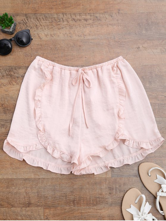 latest Satin Drawstring Tulip Cover Up Shorts - PINKBEIGE S