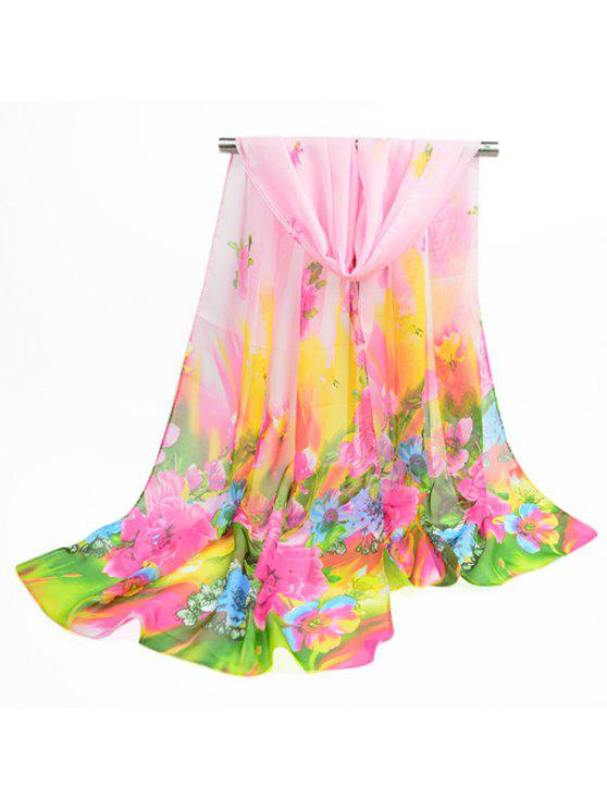 Spring Blossom Impreso bufanda de chal de gasa fina - Rosa