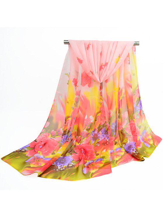 Écharpe en Gaze Fine à Imprimé Fleurs Printanières - Rose Abricot Clair