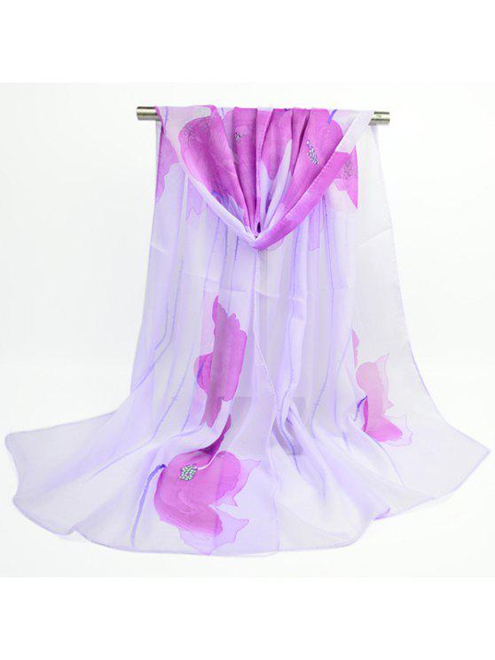 Flores de acuarela Impreso Gossamer bufanda de gasa - Morado Claro