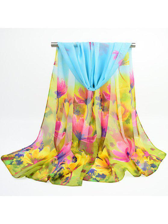 وشاح من قماش الشيفون بطبعة أزهار - أزرق سماوي