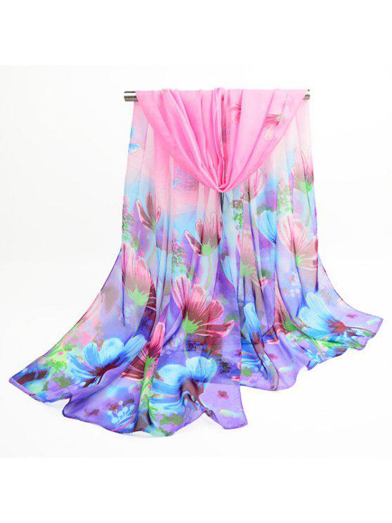 Flores de flor de lujo impreso chifón bufanda chal - Azuly Rosa