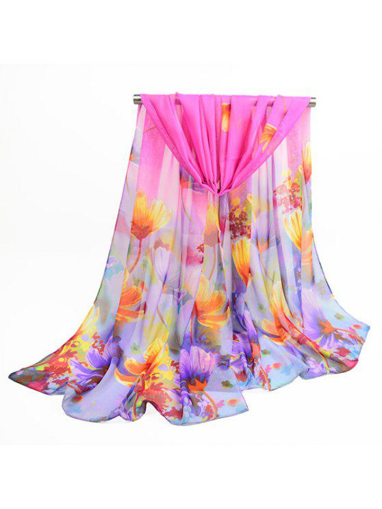 Fancy Blooming Flowers Estampe Chiffon Shawl Scarf - Sangria