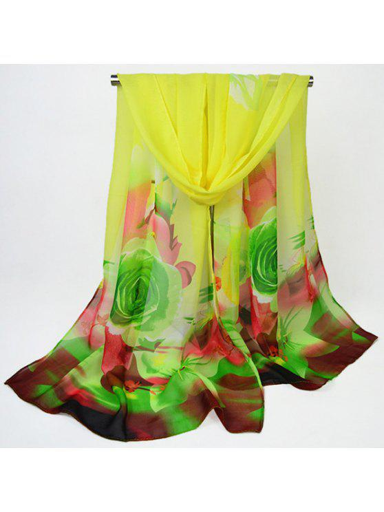 الشيفون الرقمية النافثة للحبر الزهور شال وشاح - الأصفر