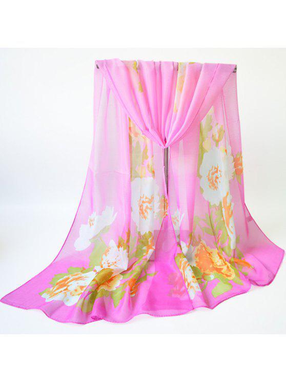 الأزهار المطبوعة وشاح شال وشاح - وردي فاتح