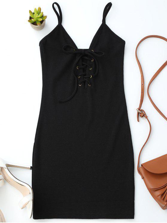 Vestido Ceñido de Tejido de Tirantes Finos con Tiras Cruzadas - Negro Única Talla