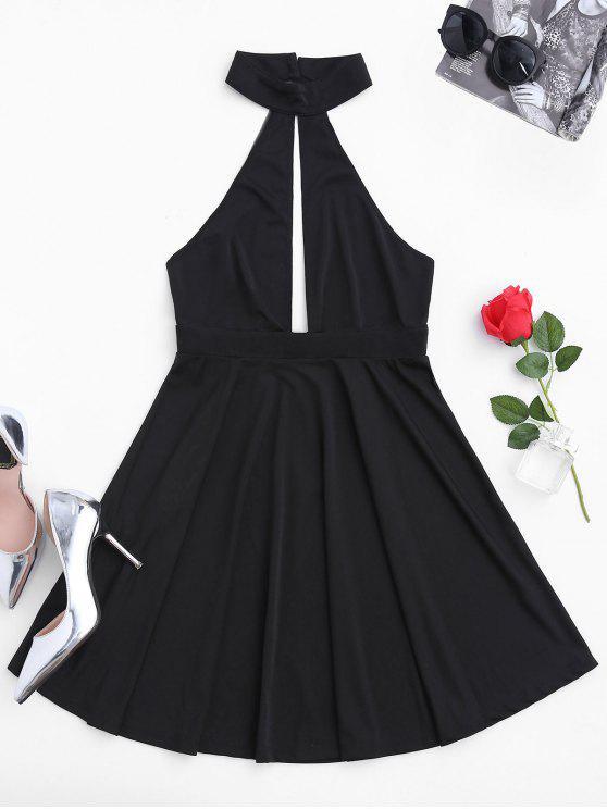 lady Sleeveless Plunge Mesh Backless Dress - BLACK M