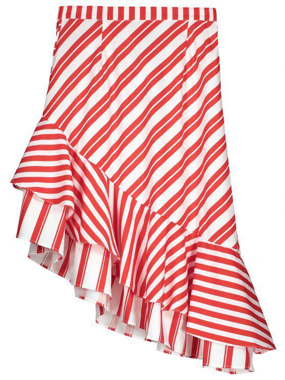buy Two Tone Asymmetric Mermaid Striped Skirt - RED L