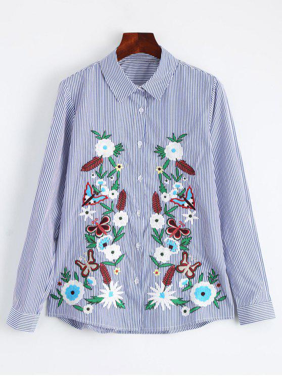 trendy Cotton Striped Floral Embroidered Shirt - STRIPE L