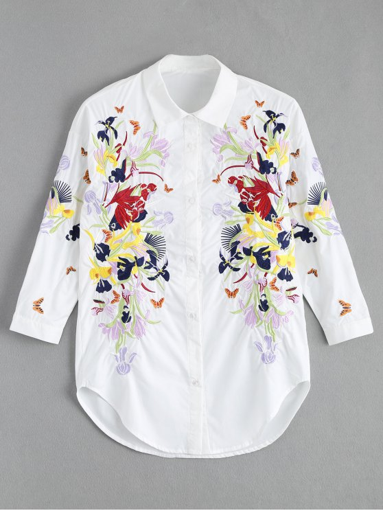 unique Floral Butterfly Embroidered Shirt - WHITE M
