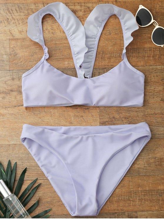 Traje de Bikini con Cuello en U con Relleno con Tirante de Volantes - Morado Claro L