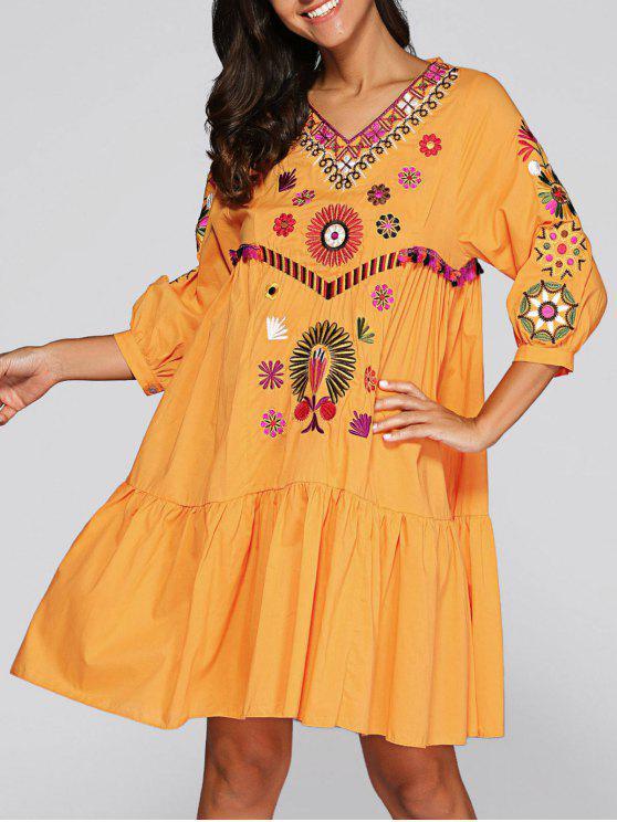 Vestido de Bata con Bordado - Jengibre L