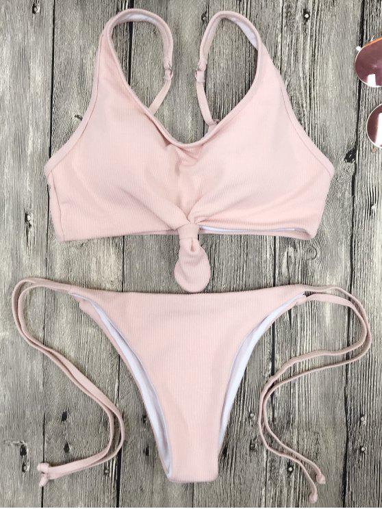 0205c36019187 60% OFF  2019 Cami Bralette String Bikini Set In PINK M