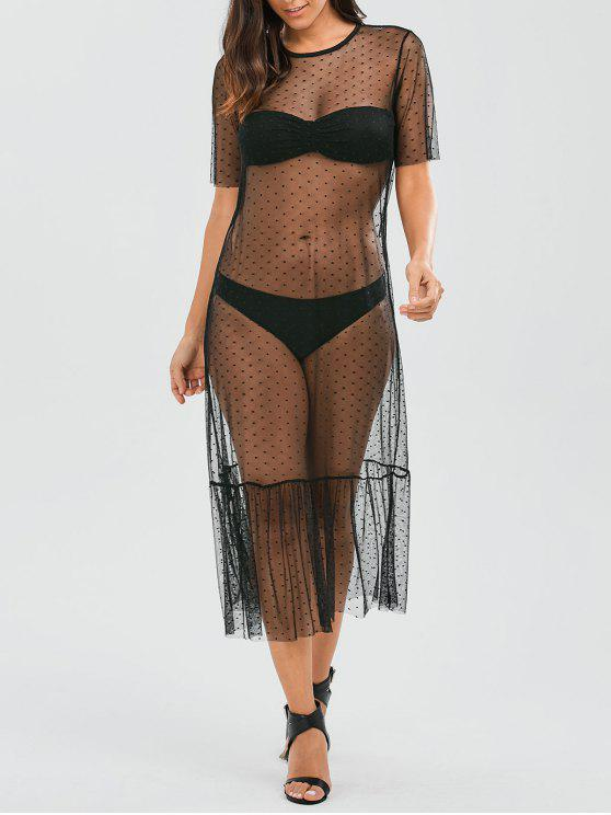 hot Sheer Ruffle Mesh Cover Up With Dot - BLACK M