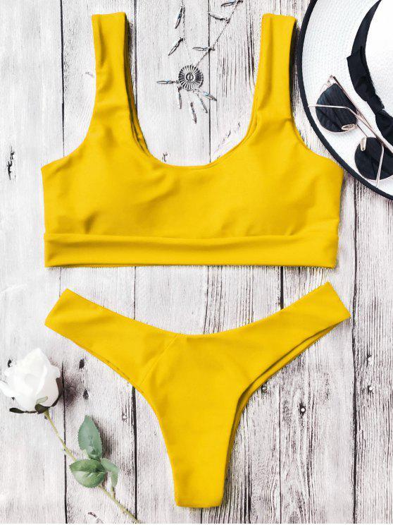 Traje de Bikini con Thong con Aros con Cuello en U - Amarillo M