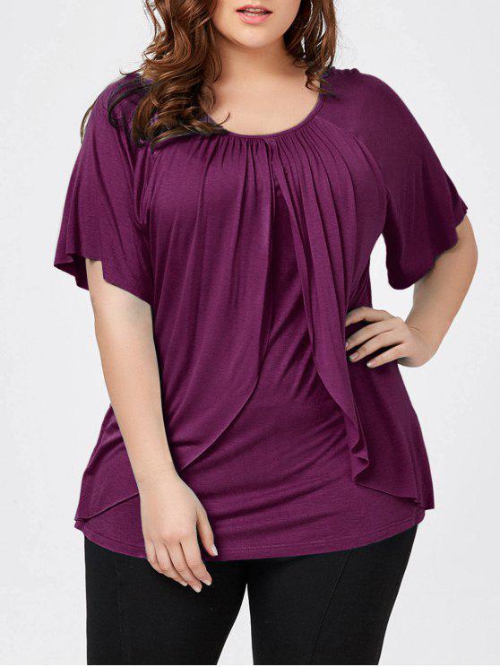 T-shirt Superposé à Manches Raglan Grande Taille - Violet Rose 2XL