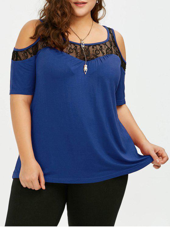 T-shirt Effet en Dentelle à épaules Nues Grande Taille - Bleu Marine 3XL