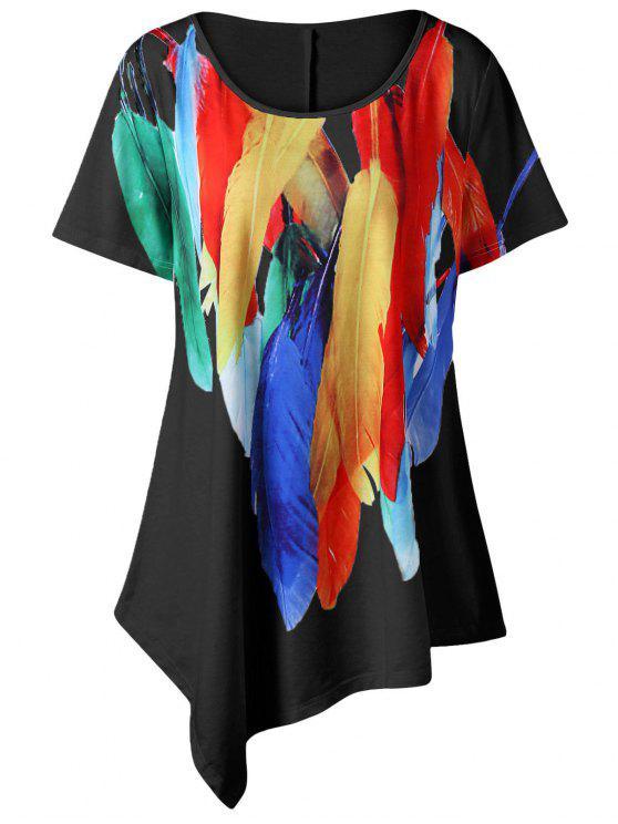 T-shirt Asymétrique Long Imprimé Plume Grande Taille - Noir XL