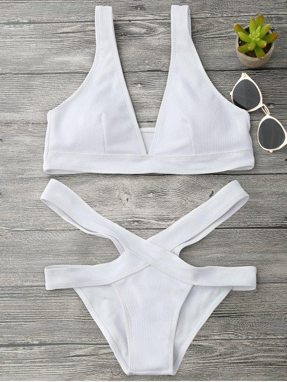 Plunge Midi Bikini parte superior y parte inferior del vendaje - Blanco S