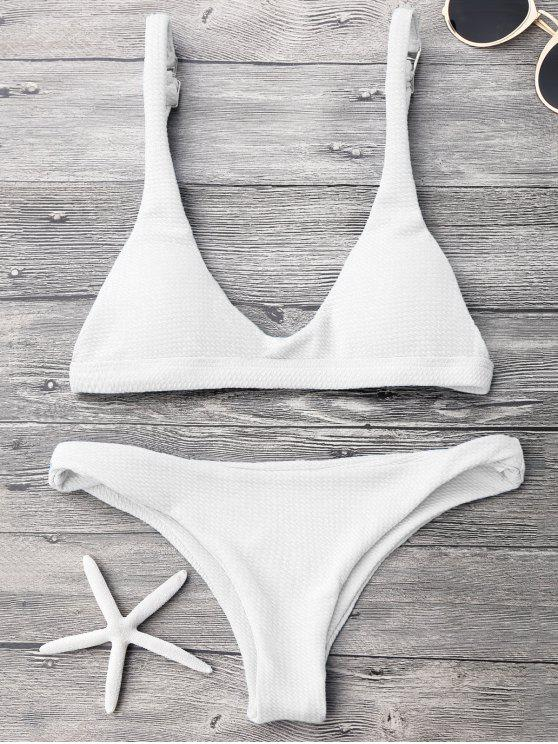 buy Low Waisted Padded Scoop Bikini Set - WHITE M