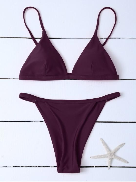 ladies Low Waisted Spaghetti Strap Bikini Swimwear - WINE RED XL