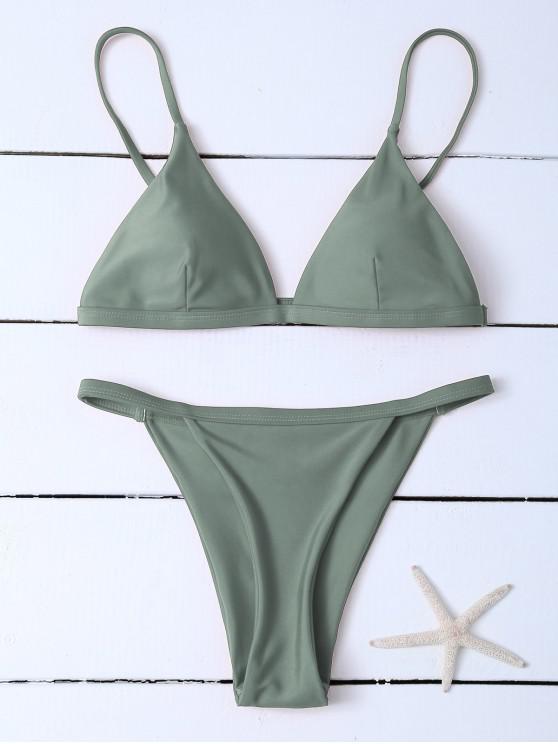 new Low Waisted Spaghetti Strap Bikini Swimwear - GREYISH GREEN XL