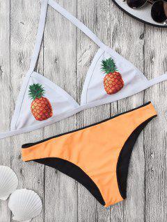 Color Block Pineapple Print Bathing Suit - Yellow M