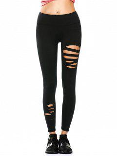 Ripped Tights Running Sports Leggings - Black L