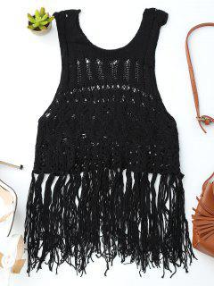 Crochet Fringed Tank Top - Black