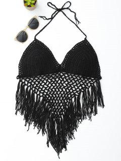 Halter Open Back Crochet Fringe Top - Black